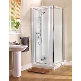 Swirl Glass Pivot Shower Enclosure Door Chrome 760mm