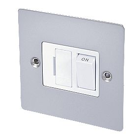 Volex 13A Switched FCU Wht Ins Satin Chrome Flat Plate