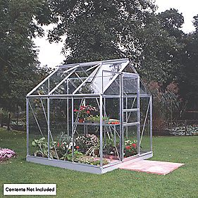 Halls Popular Framed Greenhouse Aluminium 6 x 6