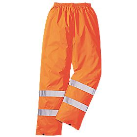 "Hi-Vis Rain Trousers Elasticated Waist Orange X Large 40-41"" W 31"" L"