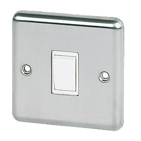 Volex 10A 1-Gang 2-Way Switch Wht Ins SS Round Edge