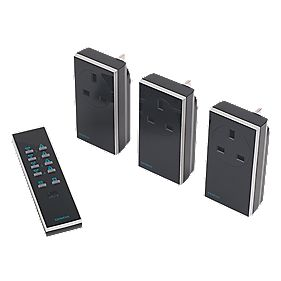 Remote On/Off Socket Dimmer Kit w/ Li-Ion Powered Remote Control 13A Black