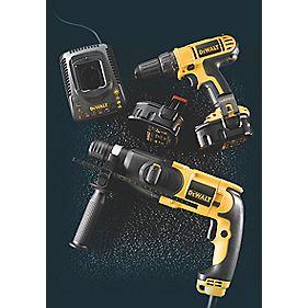 DeWalt Builders Twin Pack 14.4V Drill Driver & 2kg 110V SDS+ Hammer Drill