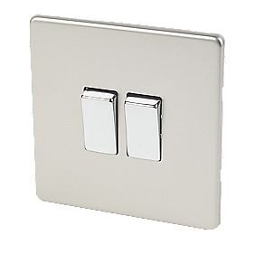 Varilight 2-Gang 2-Way 10A Switch Satin Chrome