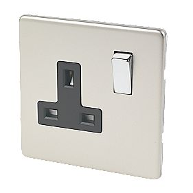 Varilight 1-Gang 13A DP Switched Socket Satin Chrome