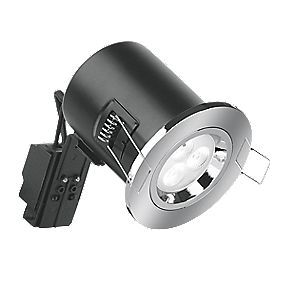 Aurora Fixed Round Compact Fire Rated LED Downlight Polished Chrome 240V