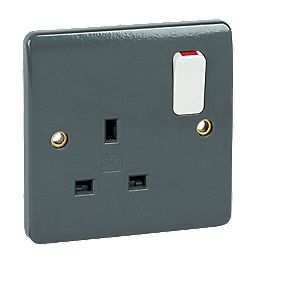 MK Logic Plus 13A 1-Gang DP Switched Plug Socket with Wide Rocker Graphite