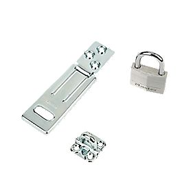 Master Lock Hasp & Staple with Padlock 90mm