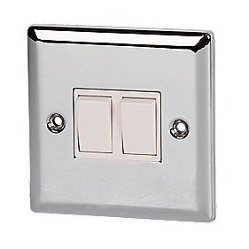 Volex 10A 2-Gang 2-Way Switch Wht Ins PC Angled