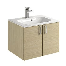 Bathroom Double Base Vanity Unit & Basin Oak Slab 600mm
