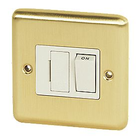 Volex 13A Switched FCU Wht Ins Brushed Brass Round Edge