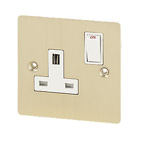 Volex 13A 1-Gang DP Sw Socket Wht Ins Brushed Br Flt Plt
