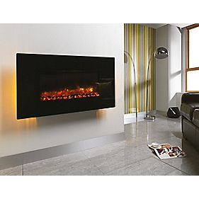 Be Modern Orlando Black Remote Control Electric Wall-Mounted Fire