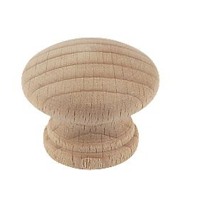 Traditional Cabinet Door Knob Plain Beech 35mm Pack of 2