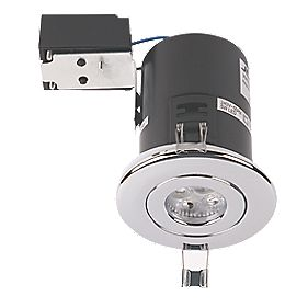 JCC Lighting Designs Fixed Fire Rated LED Downlight Polished Chrome 5W 240V