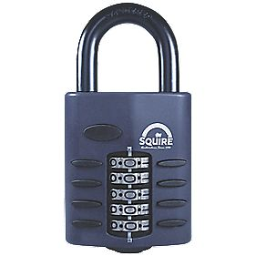 Squire Die-Cast Steel Combination Padlock Black 60mm