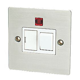 Volex 13A Switched FCU + Neon Brushed Stainless Flat Plate