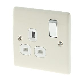 British General 13A 1-Gang DP Switched Plug Socket Cream