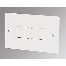 Marbo 4-Gang 2-Way 10AX Light Switch White