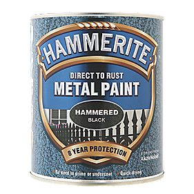 B and Q Hammered Metal Paint Black 750ml