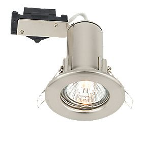 LAP Fixed Round Mains Voltage Fire Rated Downlight Brushed Chrome Eff. 240V