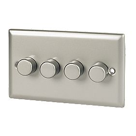 Volex 4-Gang 1-Way 250W Dimmer Satin Chrome Angled Edge