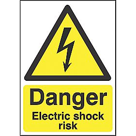 """Danger Electrical Shock Risk"" Sign 210 x 148mm"