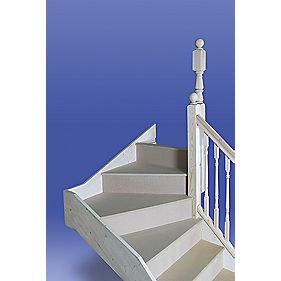 Unbranded Turned Top 3 Tread Winder Staircase RH White