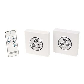 LightwaveRF LED Puck Lights with Li-Ion Powered Remote Control Pack of 2