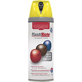 Plasti-Kote Premium Spray Paint Gloss New Yellow 400ml