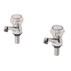 Swirl Contract Bath Taps Pair Chrome-Plated