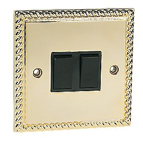2-Gang 2-Way Switch Georgian Brass