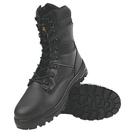 Amblers Steel Combat Lace Safety Boots Black Size 7