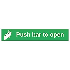 """Push Bar to Open"" Sign 75 x 600mm"