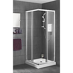 Swirl Corner Entry Shower Enclosure Chrome Effect 800mm Square Slider Doors
