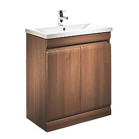 Tavistock Groove Freestanding Bathroom Basin Unit Walnut 690mm