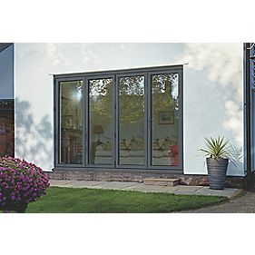 Spaceslide Bi-Fold Double-Glazed Patio Door RH Grey 3163 x 2094mm