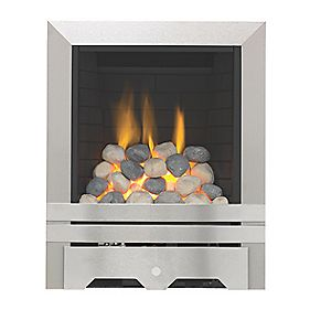 Focal Point Lulworth Stainless Steel Rotary Control Gas Inset Full Depth Fire