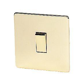 Crabtree 10AX Intermediate Switch Pol Brass Flat Plate