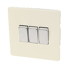 Varilight 3-Gang 2-Way 10A White Choc Metal Rocker Switch
