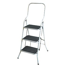 Safety Platform Step Ladder Steel 3 Treads 0.73m