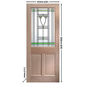 Jeld-Wen Abington Single-Light Glazed Exterior Door Oak Veneer 813 x 2032mm