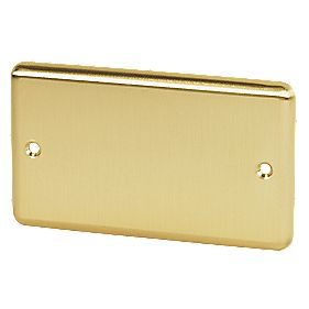 Volex 2-Gang Blank Plate Brushed Brass Round Edge
