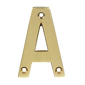Door Letter A Polished Brass Effect 75mm