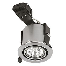 Sylvania Adjustable Round Mains Volt. FR Downlight Brushed Steel 24V