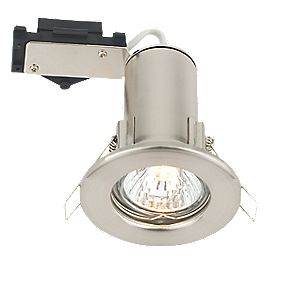 LAP Fixed Round Low Voltage Fire Rated Downlight Brushed Chrome Effect 12V