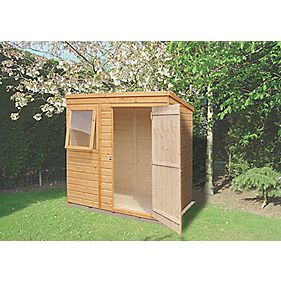 Shire Shiplap Single Door Pent Shed 4' x 6' x 7' (Nominal)