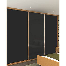 Sliding Wardrobe Doors Oak Effect Frame Black Glass Panel 3-Dr 2672x2330mm