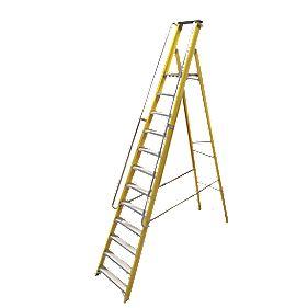 Lyte Platform Ladder with Safety Handrails 12-Tread 3.17m