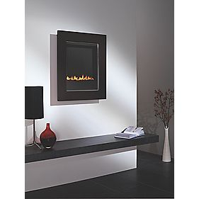 Focal Point Monet Contemporary Flueless Wall Hung Black Gas Fire 2kW